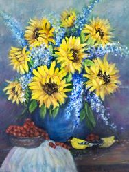 Still Life With Sunflowers, Paintings, Fine Art,Impressionism,Realism, Still Life, Oil, By Loretta Luglio