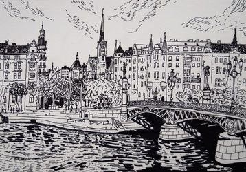 Stockholm, Drawings / Sketch, Fine Art, Landscape, Pencil, By Victoria Trok