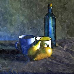 STUDY IN BLUE AND GOLD, Digital Art / Computer Art, Realism, Still Life, Digital, By William Clark