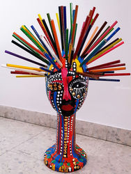Styrofoam head mannequinn<br>color pencils, gold tacks<br>acrylic painted, Sculpture, Pop Art, People, Ink, By Mirit Ben-Nun