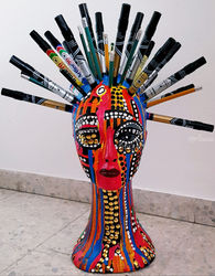 Styrofoam head mannequinn<br>markers, gold tacks acrylic<br>painted, Paintings, Pop Art, People, Ink, By Mirit Ben-Nun