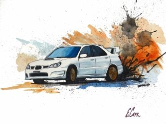Subaru STi Watercolor Painting<br>Print, Paintings, Fine Art, Window on the World, Gouache, By Erin Carr