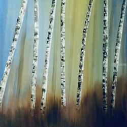Summer Birches, Paintings, Abstract, Botanical,Landscape, Acrylic, By Judith Cahill