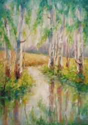 SUMMER CREEK, Paintings, Fine Art,Impressionism, Land Art,Landscape,Nature, Oil, By Emilia Milcheva