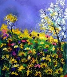 summer daisies, Architecture,Decorative Arts,Drawings / Sketch,Paintings, Impressionism, Nature, Canvas, By Pol Ledent