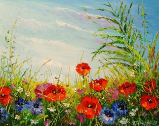 Summer field of flowers, Paintings, Impressionism, Botanical,Floral,Landscape,Nature, Canvas,Oil,Painting, By Olha   Darchuk