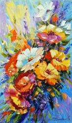 Summer flowers, Paintings, Fine Art,Impressionism, Botanical,Floral,Nature, Canvas,Oil,Painting, By Olha   Darchuk