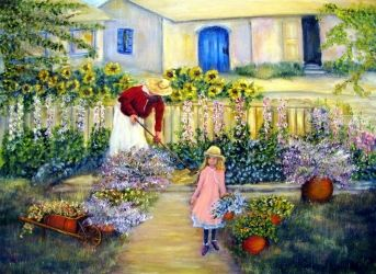 Summer Garden, Paintings, Impressionism,Realism,Romanticism, Daily Life, Canvas,Oil,Painting, By Loretta Luglio