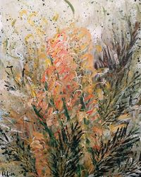 SUMMER GLORY - Flowering<br>Grevillea, Paintings, Abstract,Expressionism,Fine Art,Modernism, Botanical,Floral,Nature,Still Life, Acrylic,Canvas, By HSIN LIN