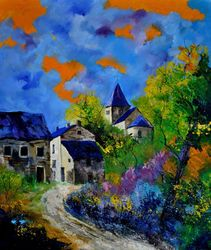 Summer in Bagimont, Architecture,Decorative Arts,Drawings / Sketch,Paintings, Impressionism, Landscape, Canvas, By Pol Ledent