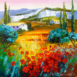 Summer in the mountains, Paintings, Impressionism, Botanical,Floral,Landscape,Nature, Canvas,Oil,Painting, By Olha   Darchuk