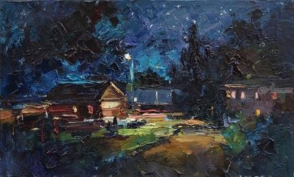 Summer Night - Original rural<br>landscape painting, Paintings, Impressionism, Landscape,Nature, Oil, By Anastasiya Valiulina