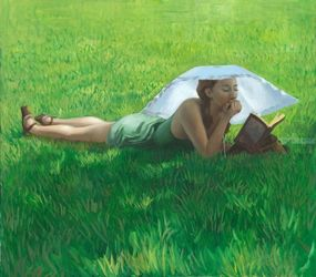 Summer reading, Paintings, Impressionism, Portrait, Oil, By Michael Connors