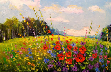 Summer,summer, Paintings, Impressionism, Botanical,Floral,Landscape,Nature, Canvas,Oil,Painting, By Olha   Darchuk