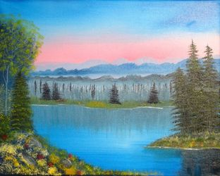 Sun Going Down on Me, Land Art,Paintings, Fine Art,Realism, Landscape, Canvas,Oil,Painting, By Lana Fultz
