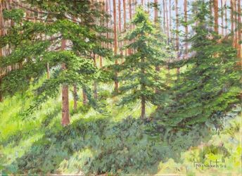 Sun in the Pine Forest, Paintings, Fine Art,Impressionism,Realism, Landscape,Nature, Oil,Wood, By Dejan Trajkovic