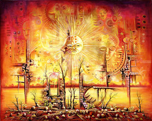 Sun Shine in My Mind. Giclee<br>print from Cameroon, Africa, Paintings, Fine Art,Surrealism, Avant-Garde,Celestial / Space,Conceptual,Fantasy,Mythical, Acrylic, By Angu Walters Che
