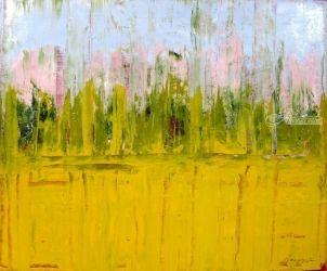 Sunflower Field, Cortona, Paintings, Abstract, Landscape, Acrylic, By Sal Panasci