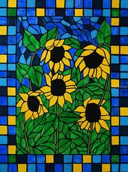 Sunflower mosaic, Mosaic,Paintings,Stained Glass, Abstract,Fine Art, Botanical,Floral,Landscape,Nature, Acrylic,Wood, By Rachel Olynuk