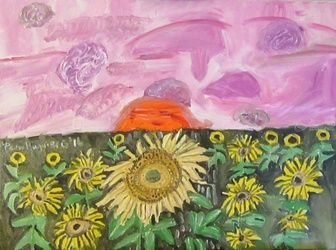 Sunflower Sunset (Museum<br>quality matted frame), Paintings, Fine Art, Floral, Canvas,Oil, By Pamela Ruggiero