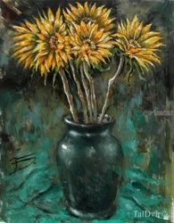 Sunflowers, Paintings, Impressionism, Botanical, Oil, By Tal Dvir