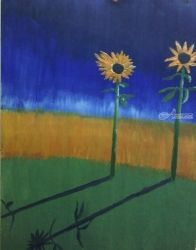 Sunflowers, Paintings, Impressionism, Botanical, Oil, By MD Meiser