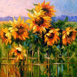 Sunflowers, Paintings, Impressionism, Botanical,Floral,Nature, Canvas,Oil,Painting, By Olha   Darchuk