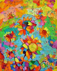 Sunflowers, Paintings, Impressionism, Floral, Oil, By Vyara Tichkova