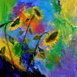 sunflowers 7741, Paintings, Expressionism, Floral, Canvas, By Pol Ledent