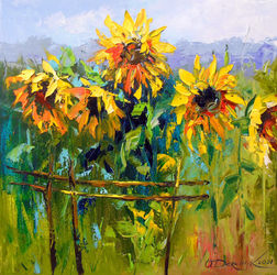 Sunflowers and wind, Paintings, Impressionism, Botanical,Floral, Canvas,Oil,Painting, By Olha   Darchuk