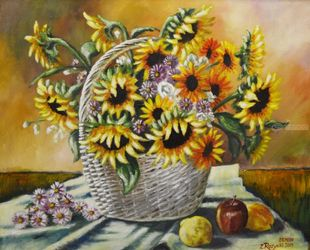 SUNFLOWERS IN A BASKET, Paintings, Fine Art, Floral, Canvas,Oil,Painting, By Zenon Rozycki