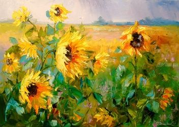 Sunflowers in the wind, Paintings, Impressionism, Botanical,Floral,Landscape,Nature, Canvas,Oil,Painting, By Olha   Darchuk