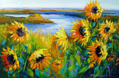 Sunflowers in the wind by the<br>river, Paintings, Expressionism,Fine Art,Impressionism, Botanical,Floral,Landscape,Nature, Canvas,Oil,Painting, By Olha   Darchuk