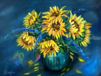 Sunflowers Still Life, Paintings, Expressionism,Fine Art,Impressionism, Still Life, Oil, By Loretta Luglio