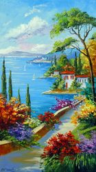 Sunny beach by the sea, Paintings, Fine Art,Impressionism, Architecture,Botanical,Cityscape,Landscape,Nature,Seascape, Canvas,Oil,Painting, By Olha   Darchuk