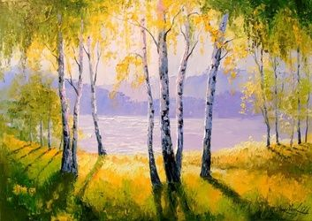 Sunny day at the river, Paintings, Impressionism, Botanical,Land Art,Landscape,Nature, Canvas,Oil,Painting, By Olha   Darchuk