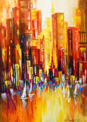 Sunny Los Angeles, Paintings, Abstract,Expressionism,Fine Art,Impressionism, Architecture,Cityscape,Fantasy,Landscape, Canvas,Oil,Painting, By Olha   Darchuk