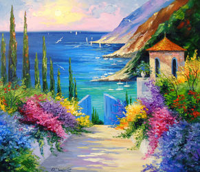 Sunny road to the sea, Paintings, Fine Art,Impressionism, Botanical,Floral,Landscape,Nature, Canvas,Oil,Painting, By Olha   Darchuk