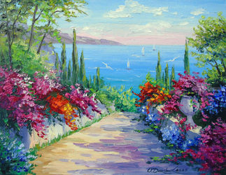 Sunny road to the sea, Paintings, Expressionism,Fine Art,Impressionism, Botanical,Floral,Landscape,Nature, Canvas,Oil,Painting, By Olha   Darchuk