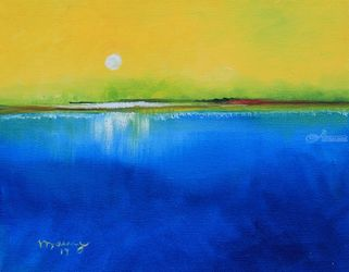 Sunrise Day, Paintings, Abstract,Impressionism, Seascape, Canvas, By Alicia Maury