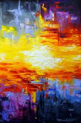 Sunset, Paintings, Abstract,Expressionism,Impressionism, Anatomy,Fantasy,Landscape, Canvas,Oil,Painting, By Olha   Darchuk
