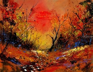 Sunset 64, Architecture,Decorative Arts,Drawings / Sketch,Paintings, Expressionism, Landscape, Canvas, By Pol Ledent