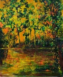 Sunset and pond, Architecture,Decorative Arts,Drawings / Sketch,Paintings, Fauvism, Landscape, Canvas, By Pol Ledent