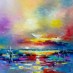 Sunset at sea, Paintings, Abstract, Seascape, Oil, By Liubov Kuptsova