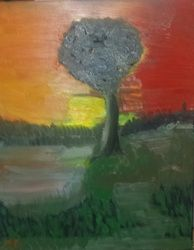 Sunset by the Lake, Paintings, Impressionism, Landscape, Oil, By MD Meiser