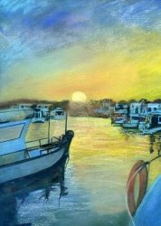 Sunset at Cala'n Bosch,Menorca, Paintings,Pastel, Fine Art,Realism, Seascape, Painting,Pastel, By Matthew Evans
