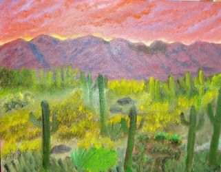 Sunset Catcus, Land Art,Paintings, Fine Art,Realism, Landscape, Canvas,Oil,Painting, By Lana Fultz