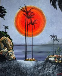 Sunset Cove, Paintings, Realism, Environmental art, Oil, By Andrew Hollimon