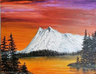 Sunset Expression, Land Art,Paintings, Realism, Landscape,Nature, Canvas,Oil,Painting, By Lana Fultz