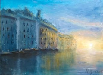 Sunset in Rovinj, Paintings, Fine Art,Impressionism, Cityscape,Landscape, Oil,Wood, By Angela Suto